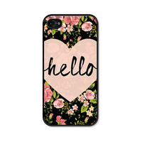 Heart Hello Black and Peach Floral iPhone Case - iPhone 4 Case - iPhone 4 Cover - iPhone 4s Skin - Coral Pink Pastel Flowers iPhone 5 Case