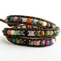 Leather Wrap Bracelet with Multi Colored Semi by amodernphilosophy