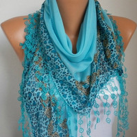 BIG SALE Turquoise Scarf Shawl    Cotton Scarf  by fatwoman