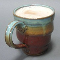 Twisted Green Iron Red Mug Handmade Stoneware Pottery Cup Coffee Tea | TheMudPlace - Ceramics & Pottery on ArtFire