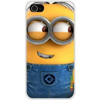 4GDCM-08W iPhone 4S 4G iPhone4 At&t Sprint Verizon Funny Cartoon Despicable Me Minions Hard Case Cover with eBayke Logo