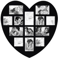 ADECO PF0304 13-Opening Black Wooden Wall Hanging Collage Photo Picture Frames - Holds 4x5 4x6 Inch Photos, Wall Art,Wall Hanging Collage,Heart Shape / Love Design,Best Wedding Gift:Amazon:Home & Kitchen