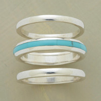 STREAK OF TURQUOISE RING TRIO         -                  Stack         -                  Rings         -                  Jewelry                       | Robert Redford's Sundance Catalog