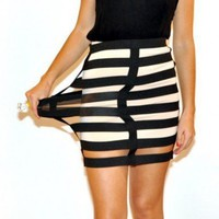 Elastic Cage Mini Skirt - Color Block Mini Skirt - Graphic Skirt | Crazeandprice - Clothing on ArtFire