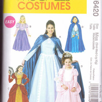 New McCalls Pattern Halloween Costume miss sizes small medium large and extra large Queen princess