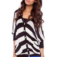 Striped Side Pocket Cardigan in Black and White :: tobi