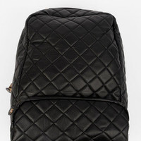 Quilted Faux Backpack in Black :: tobi