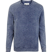 Navy acid wash polka dot front sweatshirt - sweatshirts - hoodies / sweatshirts - men