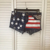 American Flag Studded Distressed Shorts Size 5 by 5ONE5Clothing