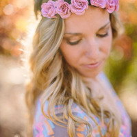 Bohemian Flower Crown Headband Bridesmaid Rose by ThreeBirdNest
