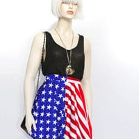 Shiny American Flag Skater Skirt Mini Above Knee Star Stripes Spandex July 4th