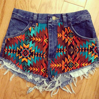 Aztec High-Waisted Cutoff Shorts
