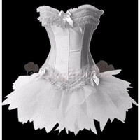 Strapless Lace-up With Busk Closure Ruffled Corset White [TQL120320029] - $27.89 : Zentai, Sexy Lingerie, Zentai Suit, Chemise
