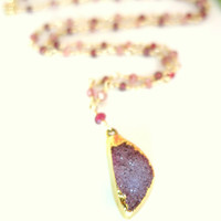 Lavender druzy pink tourmaline rondelle rosary necklace, purple druzy gold lined necklace, purple druzy pendant