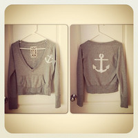 Anchor Sweatshirt hand stenciled nautical OOAK upcycled size M