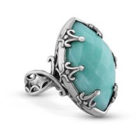 Relios Sterling Silver Faceted Amazonite Statement Ring