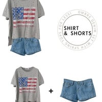 Denim & Flag Set - Mexy  - Online Summer clothing store