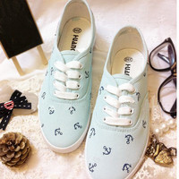 pure and fresh powder blue ocean JunFeng boat anchor canvas shoe