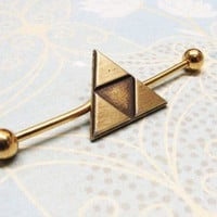 Bronze Triangle Ear Barbell, inspired by Legend of Zelda Triforce