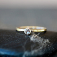 Rose Cut Diamond Ring Engagement 14k Gold by ShopClementine