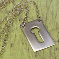 Keyhole Necklace in Sterling Silver Silhouette Pendant