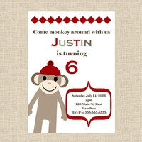 Sock Monkey Birthday Party Invitation - Girl Or Boy - Printable