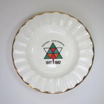 Vintage Canada Centennial Ashtray, 1867-1967 gold trimmed, Georgian China