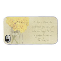 Quote Iphone case - Iphone 4 4s and 5 cover - yellow flowers - quote - quote decorative Iphone cover - girly iphone accessory
