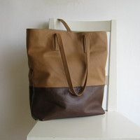 Brown and Cognac/ Camel Leather Tote Shoulder Bag