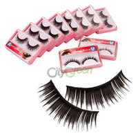 New 10 Pairs 0.43 inch Black Thick False Eyelashes Eye Lash with Glue C-16