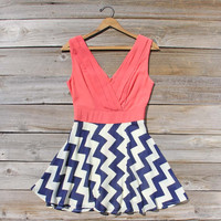 Firecracker Chevron Dress in Watermelon, Sweet Women's Bohemian Clothing