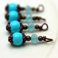 Turquoise Glass and Frosted Blue Rondelle Crystals Bead Dangle Charm Drop Set