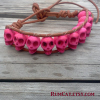 Brown Leather and Pink Howlite Skulls bracelet - pirate,  surf, SUP, day of the dead.