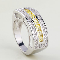 925 Silver Rhinestone Wide Band Ring at Online Jewelry Store Gofavor