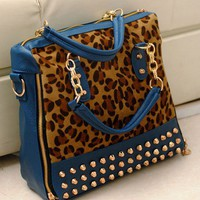 Fashion  Leopard Print Paillette Rivet Handbag