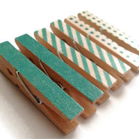 Mini Clothespin Magnets Teal Polka Dot Stripes Set of 6 Magnet Clips