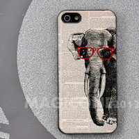 Elephant wear Sunglasses on Dictionary page  iPhone 5 Case - iPhone 4 / 4s Case - Samsung Galaxy S3 / S4 case