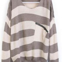 Grey White Stripes Women's Sweater with Pocket