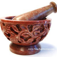 "Soap Stone Carved Mortar & Pestle 4""D"