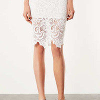 White Lace Pencil Skirt - New In This Week  - New In