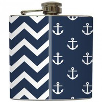 "Liquid Courage Flasks: ""High Tide"" - Navy Nautical Anchor & Chevron Flask"