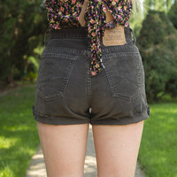 High Waisted Dark Brown Corduroy Levi Shorts