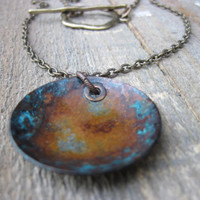 Bohemian necklace OOAK patina by CopperTreeArt on Etsy