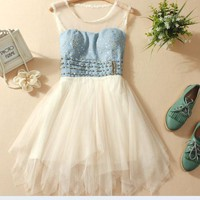 coolstyle — Lace collar denim rivet is irregular  dress