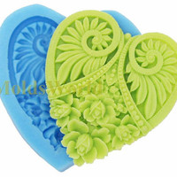 A186 Silicone Mold heart 1 Cavities Flexible Mould by MoldsWorld