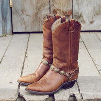 Vintage Chestnut Stacked Cowboy Boots, Sweet Vintage Cowboy Boots