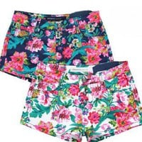Retro Flower Print Denim Shorts for Womens