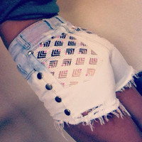 Studded High Wasted 80's shorts by MeiLai on Etsy