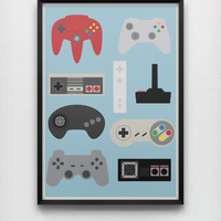 Generations 50 x 70 cm Giclée Print Retro Minimalist Video Game Controllers Graphic Poster Home