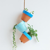 "Blue Sky Small Hand Painted Terracotta Planter. Hanging 2.25"" Mini Clay Pots. Terra Cotta Air Plant Home Decor. Made by Hoopla."